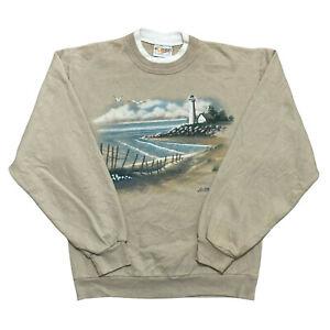 Vintage Morning Sun Sweatshirt Ladies Lighthouse Graphic Pullover Jumper Size S