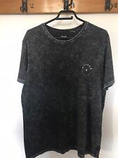 🌈 Afends negra camiseta de gran tamaño envejecido calle Surf Skate Talla M