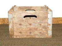 VINTAGE 1949 NADLER BROS DAIRY AMSTERDAM NY WOOD MILK BOTTLE BOX