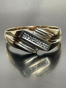 MEN'S YELLOW GOLD DIAMOND RING SIZE 10
