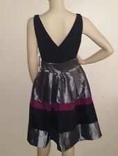 Ladies Silver Purple Black Evening Occasion Party Dress Size 14 By S L Fashions
