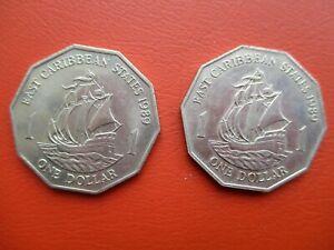 East Caribbean States - 1989 - one dollar - x2   (ref DW01)