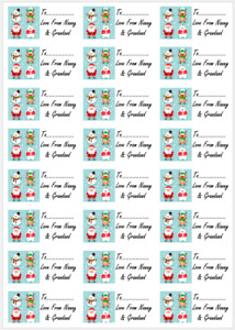 48 x Personalised Merry Christmas Labels Stickers Tags Presents Santa Name Tags