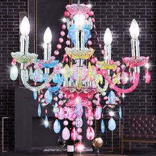 Luxus Kronleuchter Luster Decken Hänge Lampe bunt Kristalle Küche Landhaus Loft