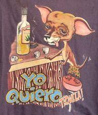Yo Quiero TEQUILA w. Drunk CHIHUAHUA Purple T-SHIRT Sz M by TULTEX 100% Cotton