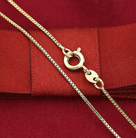 Womens Girls 18K Plain GOLD FILLED Dainty BOX CHAIN NECKLACE FOR PENDANT 45cm