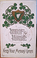 Irish Postcard KEEP YOUR MEMORY GREEN Shamrock vs Thistle St Patrick Ser 16 Nash