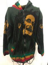 Vintage Bob Marley Rasta Alpaca Wool Blend Hoodie Jacket Reggae Promo Large 90s