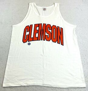 Vintage 90s Mens Clemson University White Tank Top Made in USA Anvil Excellent