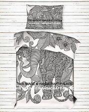 Luxury Indian Ethnic Mandala Elephant Print Duvet/Quilt Cover Urban Bedding Set