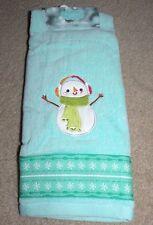 Snowman w/Earmuffs Hand Towel Nwt-St. Nicholas Square-Green/Aqua Blue Msrp$9.99