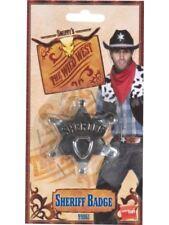 New Metal Round Edges Sheriff Star Badge Fancy Dress Wild West Costume Prop Kids