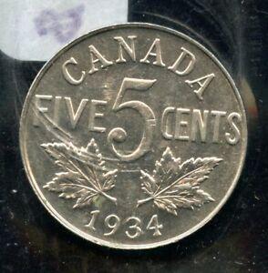 1934 Canada Five Cents - ICCS AU-55 Cert#BW842