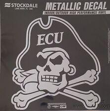 "East Carolina Pirates 12"" Large Silver Metallic Vinyl Auto Decal University of"