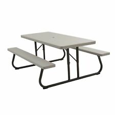 New Lifetime 22119 Folding Picnic Table 6 Feet Putty w/ Benches + Umbrella Hole
