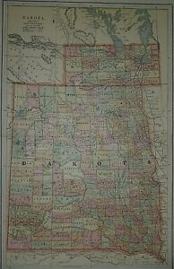1887 Railroad, Indian Reservation, Military Res. & County Map ~ DAKOTA TERRITORY