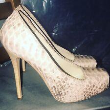 Alexander McQueen Pink Python Skin Platform High Heels Pumps Ret $1695