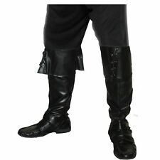 Pirate Black Leather Look Boot Covers Shoe Mens Adults Fancy Dress Accessory