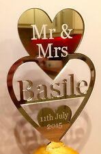 Wedding Mr & Mrs Heart Cake Topper  Personalised in Acrylic Mirror Finish