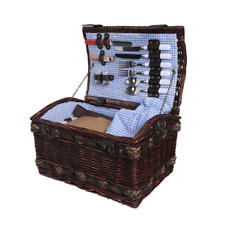 Picnic Basket Set 2 Person Willow Baskets Deluxe Outdoor Travel Camping Blanket