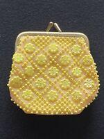 Vintage Beaded Coin Purse 1960s Geometric Retro Peach Kiss Lock Clamshell Change