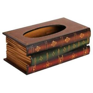 Wooden Book Design Tissue Box Holder,Tissue Box Cover Napkin Holder Modern