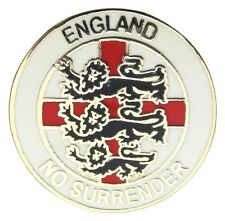 "ENGLAND BADGE ""NO SURRENDER"" (white) - England Flag, St George's Day, UK Seller"