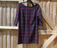 Mango Navy & Red Check Scoop Back Tunic Dress Size EUR S / UK 10 VGC