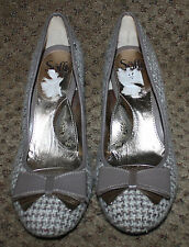 SOFFT Ivory Taupe Tweed Leather Bow Pumps Heels Shoes NWOB 11M