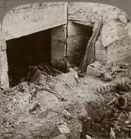 German Position Destroyed by British Shell. La Bassée - Underwood WW1 Stereoview