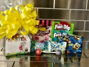 Kids Easter Gift Basket / Box With Cookies, & Candy And Yellow Bow