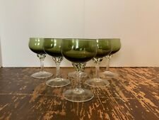 Vintage Italian Glass Empoli Green and Clear 3 Ounce Cordial Stem Set of 6 C