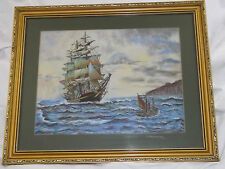 Original Pastel Chalk Nautical Seascape Tall Ship & Tug Boat Gilt Framed Picture