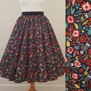 1950s Circle Skirt Floral Dancing Skeletons - Rockabilly Gothic Halloween Dress