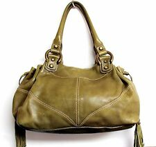 ROOMY FRANCESCO BIASIA GREEN GENUINE LEATHER TASSEL HOBO SHOULDER BAG HANDBAG