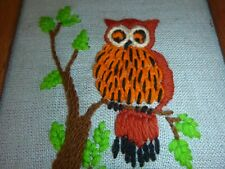 Vtg 70s Owl in Tree Crewel Embroidery Completed Framed 9.25 x 11.5