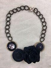 Marquis & Camus Black Ribbon Rose Crystal Goth Necklace Victorian Rebel Line