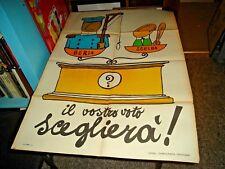"""Manifesto 70x100"""" Beria Scelba sobre Balanza Su Votación Scegliera '!"""" Anni '50"""