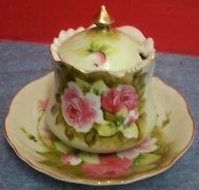 Vtg Lefton China Heritage Green Jam Jelly Jar & Underplate Pink Roses Gold Trim