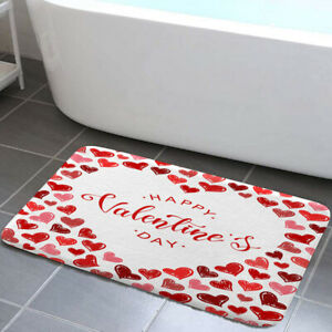 Valentine's Day Red Heart Shower Curtain Toilet Cover Rug Mat Contour Rug Set