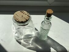 Small glass bottles with cork lids x 2 decorative / craft / apothecary / potion