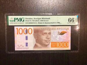 Sweden Sveriges Riksbank Pick 74 ND(2015) 1000 Kronor PMG 66 EPQ (1)