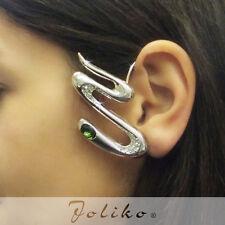 JoliKo Ohrklemme Ear cuff Ohrring Tattoo Zickzack Silber pl Grün Kristall LINKS