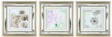 53.5 x 53.5 Wall Art Picture With Mirror Glass Mounted Frame - 3 Flower Designs