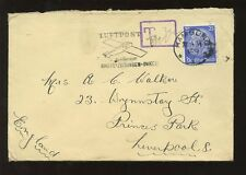 GERMANY POSTAGE DUE 1934 HAMBURG to GB 30c...AIRMAIL ILLUSTRATED SLOGAN