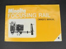Minolta Focusing Rail Instruction Manual