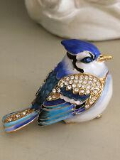 Bibelot oiseau métal polychrome émaillé strass boîte bijoux