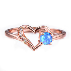 Romantic Gift Blue Fire Opal Gems Rose Gold Plated Silver Round Ring Size 7-10