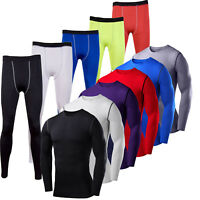 Mens Compression Body Armour Base Layer Gym Sports Thermal Tops Leggings Pants
