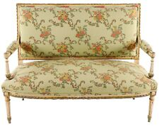 Louis XVI Settee - Carved & Painted - Silk Upholstery